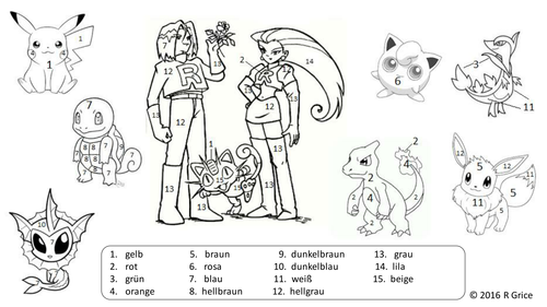 Pokemon Colour By Number Sheet Year 7 By Rachelgrice