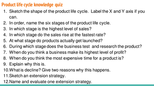 Product life cycle quiz