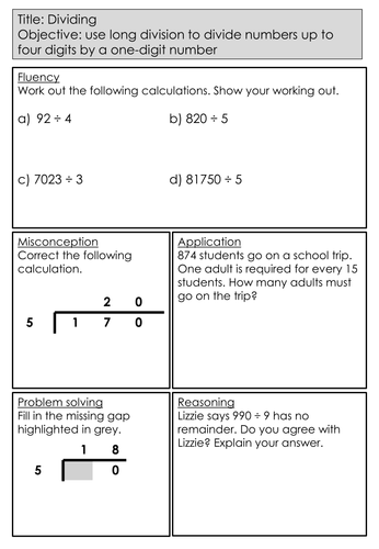 Mastery Maths - Dividing - Objective: use long division to divide numbers up to four digits