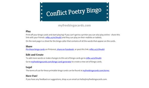 Conflict Poetry Bingo Edexcel 1-9