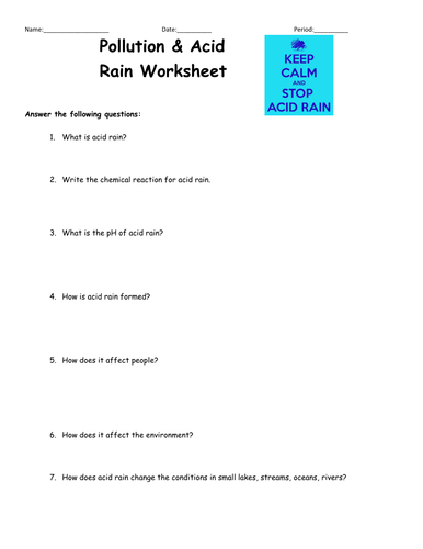 Worksheets Acid Rain Worksheet acid rain worksheet by goodskills75 teaching resources tes