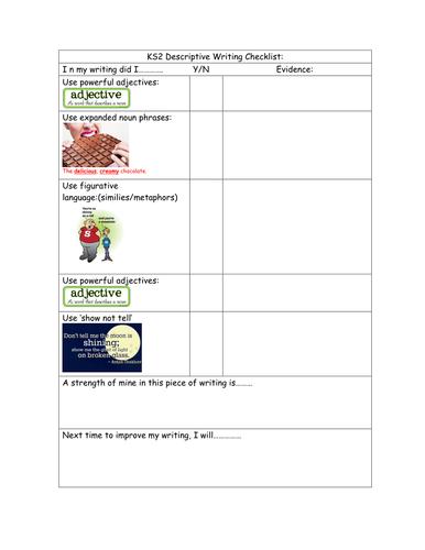 Checklist assessment sheet /success criteria for Descriptive writing KS2