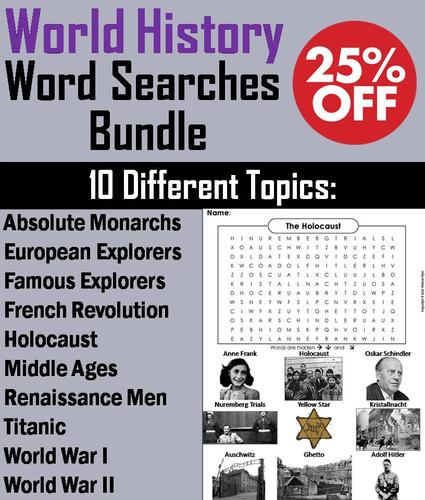 World History Word Search Bundle