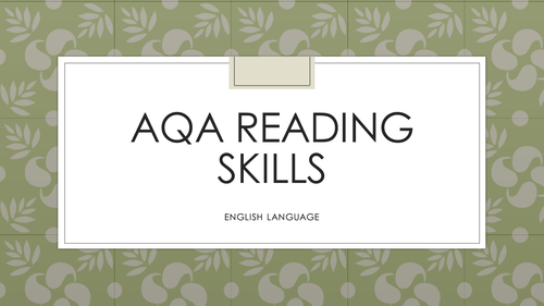 AQA Reading Skills  - BUGS year 10