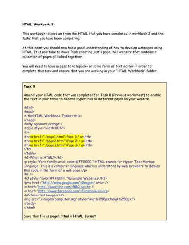 HTML Student Workbook 3