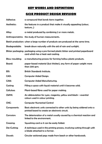 Product Design Key Words Terminology