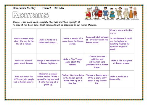 Romans Topic- Homework Medley Sheet- Ks2