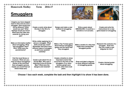 Smugglers Topic- Homework Medley Sheet- KS2