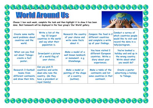 World Around Us - Geography Homework Medley Sheet - KS2