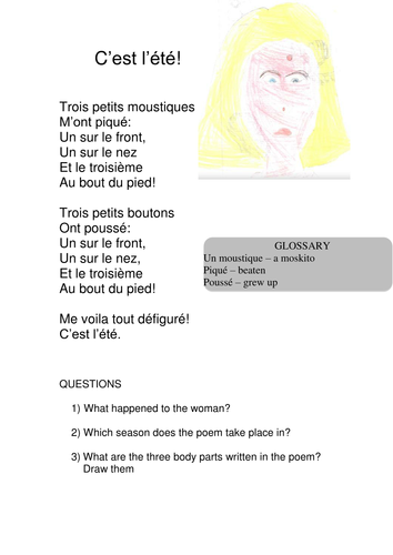 French poems - reading cards