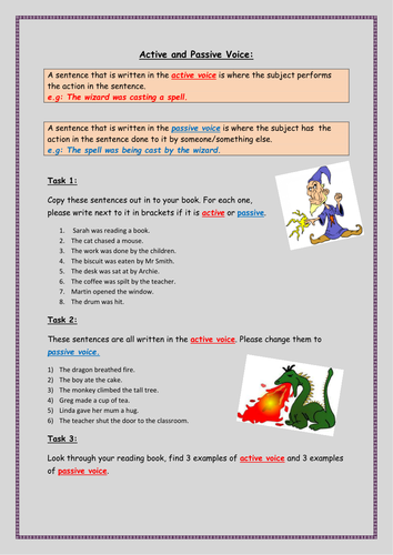KS2- Active and Passive Voice activity sheet (3 different tasks)