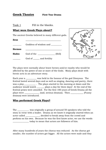 Greek Theatre -Fill in the blanks