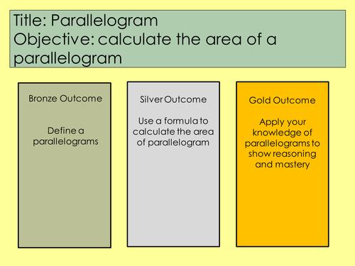 Mastery Maths - Lesson - Area of a Parallelogram