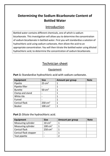 Experiment: Determining the Sodium Bicarbonate Content of Bottled Water  (BTEC Unit 19 Assignment A)