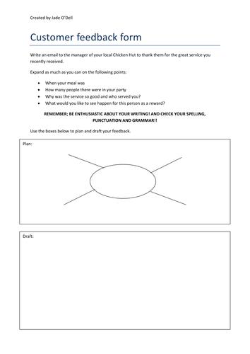 Entry Level 3 Functional Skills English writing practise- customer feedback form