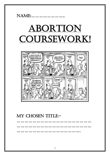 Pupil information booklet looking at the ethics of abortion