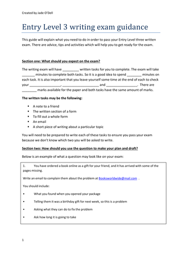 Entry Level 3 English writing revision booklet with activities, tips, practise, questions, gapfill