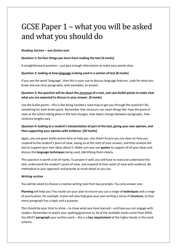 Last-minute New Spec GCSE English Language Guidance