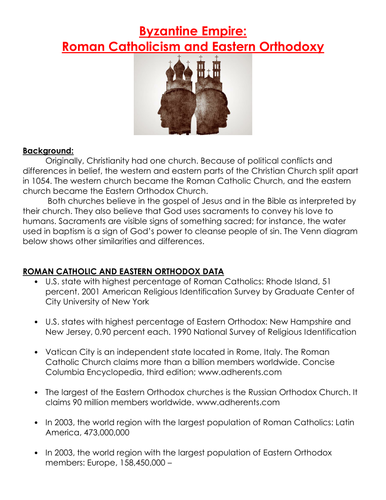 byzantine empire roman catholicism and eastern orthodoxy worksheet by linni0011 teaching resources tes