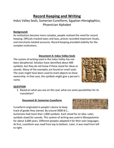 Indus Valley Seals Sumerian Cuneiform Egyptian Hieroglyphics
