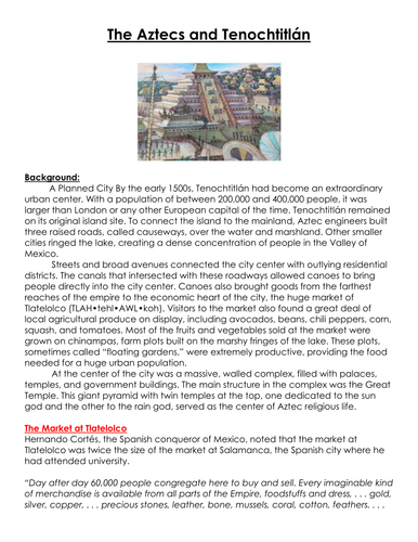 The Aztecs and Tenochtitlán Worksheet
