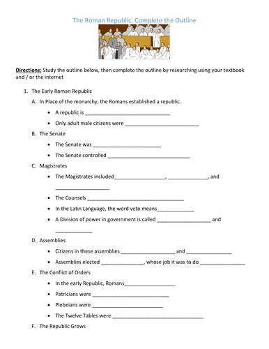 Ancient Roman Republic Worksheet