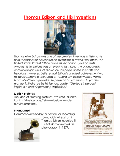 Thomas Edison and His Inventions worksheet