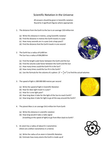 Scientific Notation in the Universe