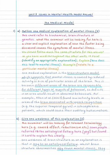 OCR Unit 3 - Medical Model - Example Qs and Model Answers