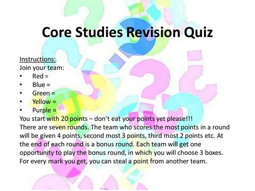 Core Studies (OCR) Revision Quiz AS LEVEL