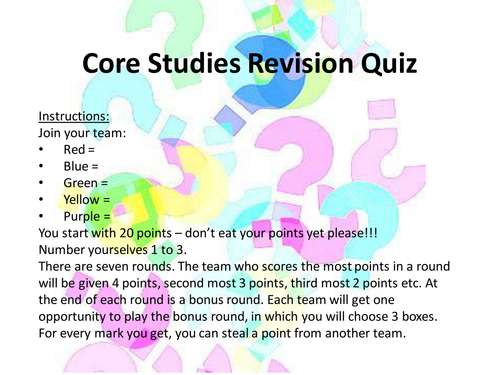 Core Studies (OCR) Revision Quiz FULL A LEVEL