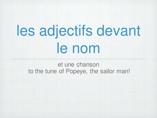 Les adjectifs devant le nom - lesson