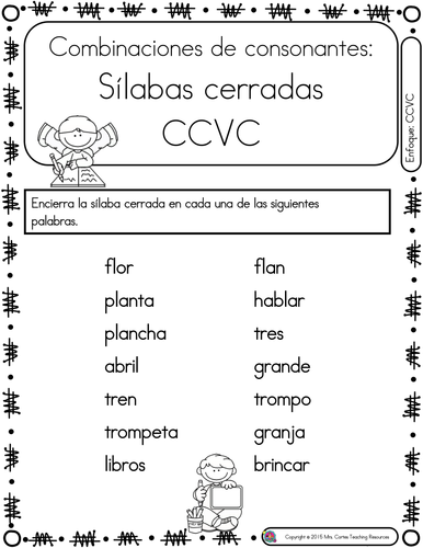 spanish phonics book set 17 silabas cerradas by mrscortes teaching resources. Black Bedroom Furniture Sets. Home Design Ideas