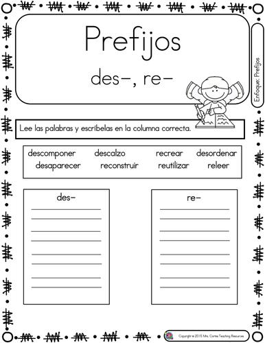 Spanish Phonics Book Set #20: Prefijos des y re