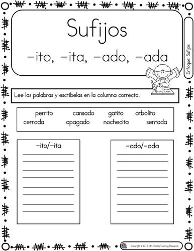 Spanish Phonics Book Set #22: Sufijos ito, ita, ada, ado