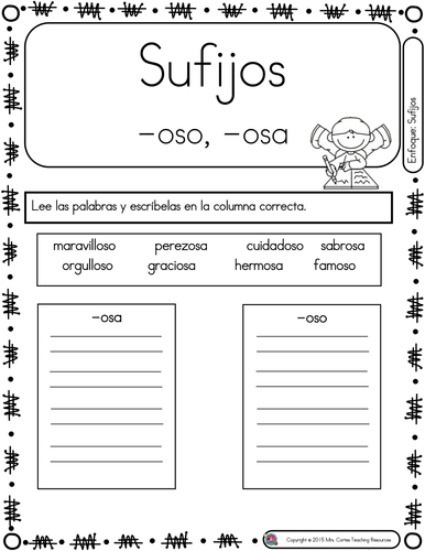 Spanish Phonics Book Set #25: Sufijos osa y oso