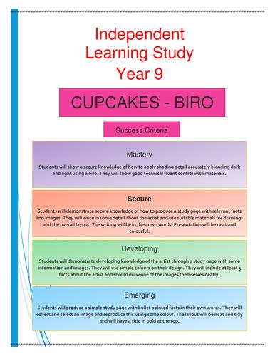 Cupcake drawing homework task