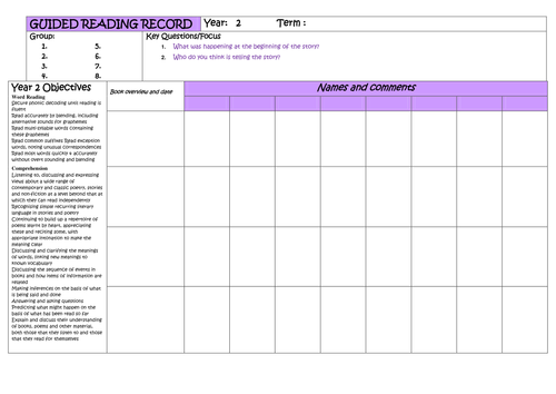 Year 2 Guided Reading Planner
