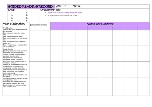 Year 1 Guided Reading Planner