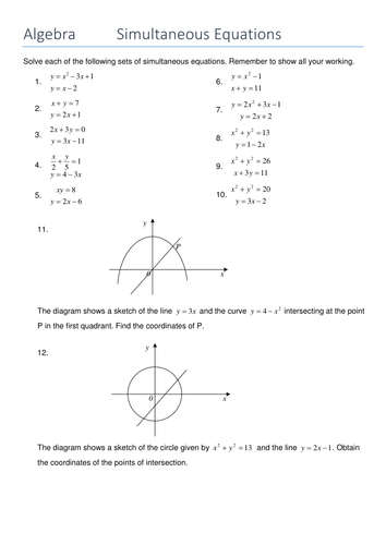 Simultaneous equations with one linear and one quadratic equation.