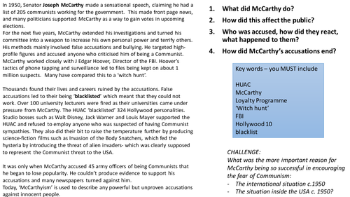 McCarthyism and second red scare in USA