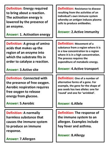 AQA AS Biology - QUiz quiz trade cards - full glossary