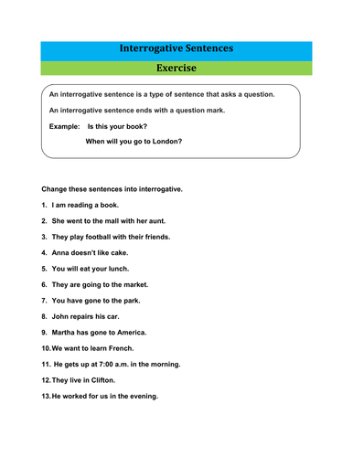 Exercise of Interrogative Sentences with Answer key