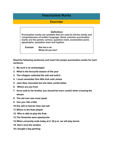 Exercise of Punctuation Marks with Answer Key