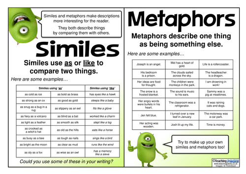 Similes And Metaphors Reference Mat By Teachingideas Teaching