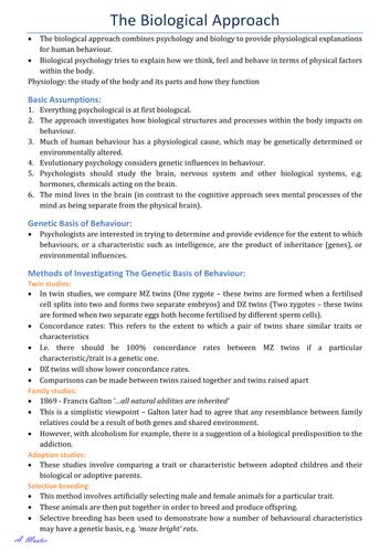 Biological Approach Summary