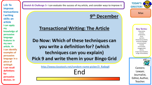 Transactional Writing- writing a lively article. Lesson for KS4