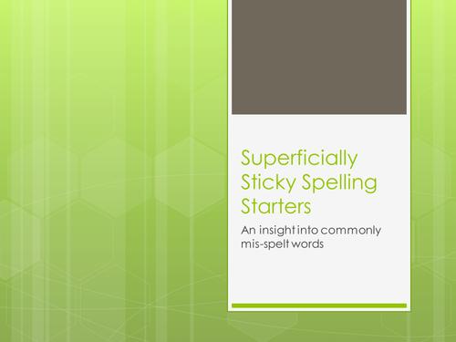 homophones and spelling starter- interactive