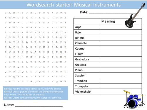 Spanish Musical Instruments Keyword Wordsearch Crossword Anagrams Keyword Starters Homework Cover