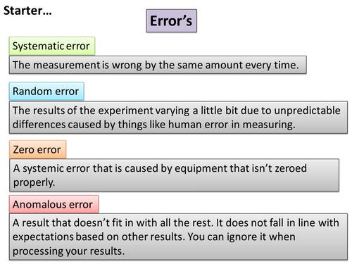 AQA - systematic error, random error, zero error and anomalous result